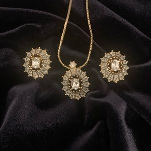 Vintage Dior Crystal Pendant & Earrings Set